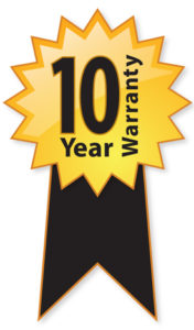 10 Year Warranty Ribbon Graphic